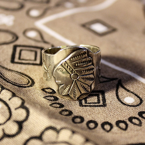 Silver Chief Head Ring Size 9 1/2