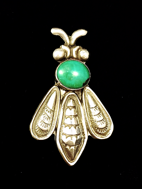 Silver and Turquoise Bee Pin