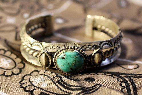 Round Turquoise 3 Shank Cuff Bracelet