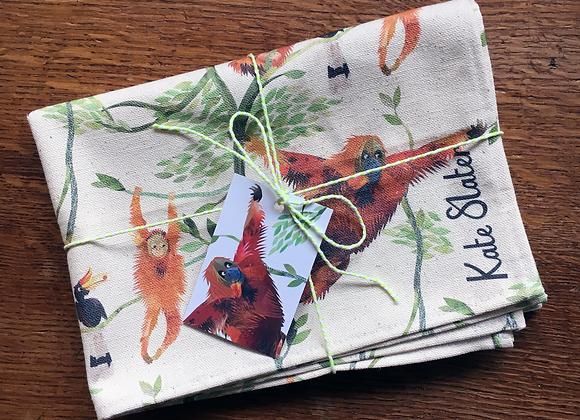 Orangutan Print Tea Towel