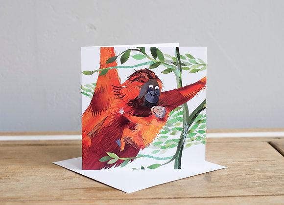 Mother & Baby Orangutan Card (Large)