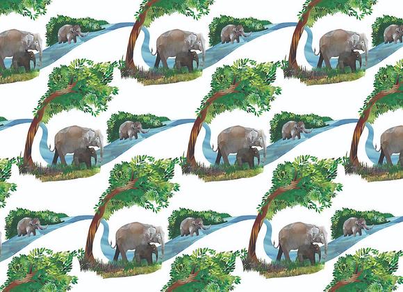 River Elephants Gift Wrap