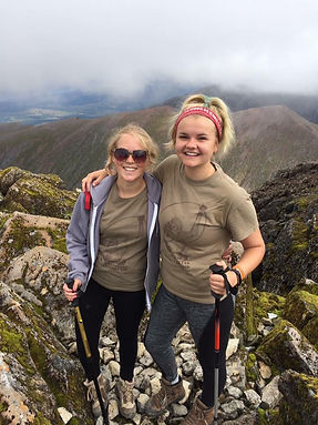 Sophie Briwn & Hannah Mackins reach the summit of Ben Nevis as part of their fundraising effort for OVAID in 2017