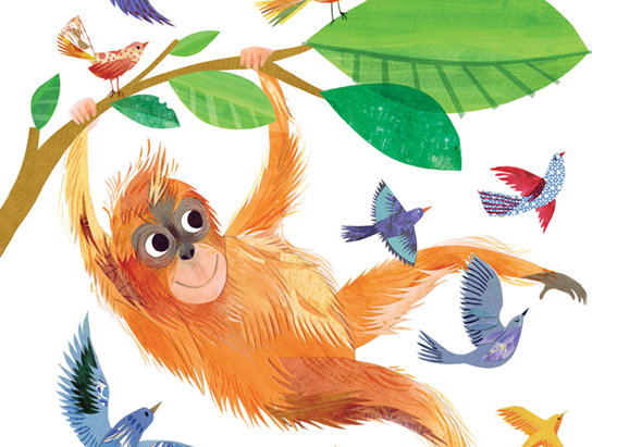 Orangutan 'Flight' Greetings Card