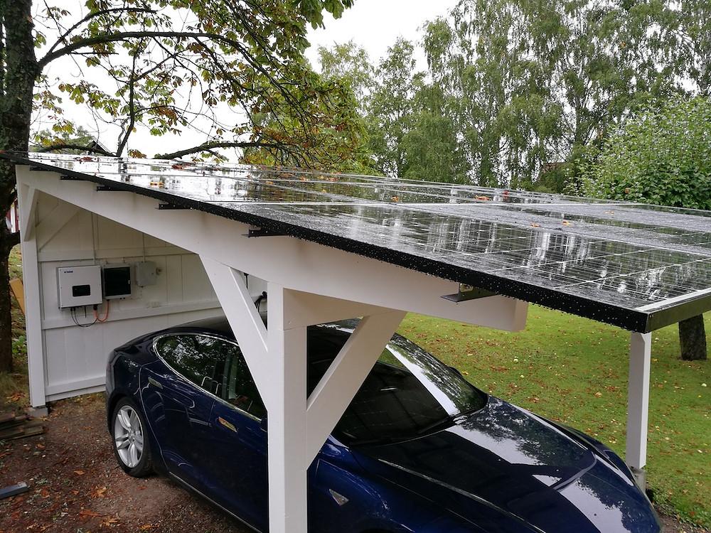Garage uppfart med Solceller