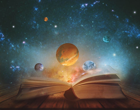 Book of the universe - opened magic book with planets and galaxies. Elements of this image