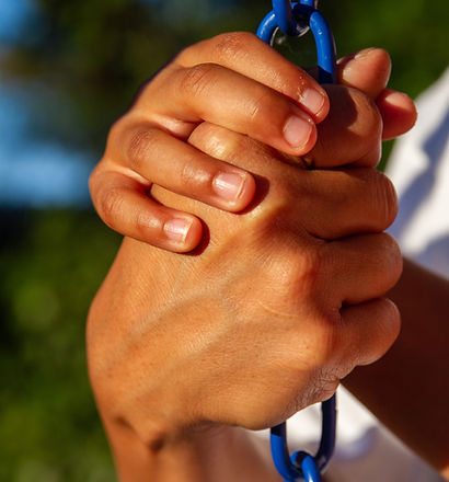 Latino son gripping in trust the  hand o