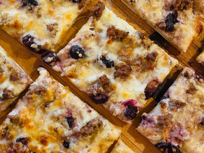 Cherry Balsamic Pizza with Sausage and homemade Alfredo Sauce