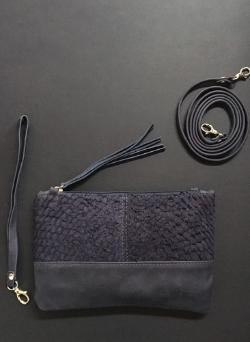 7dce95e096 Exotic fish leather clutch navy S
