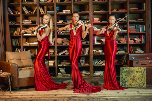 Stefaniya Violin Show trio red dress1.jp