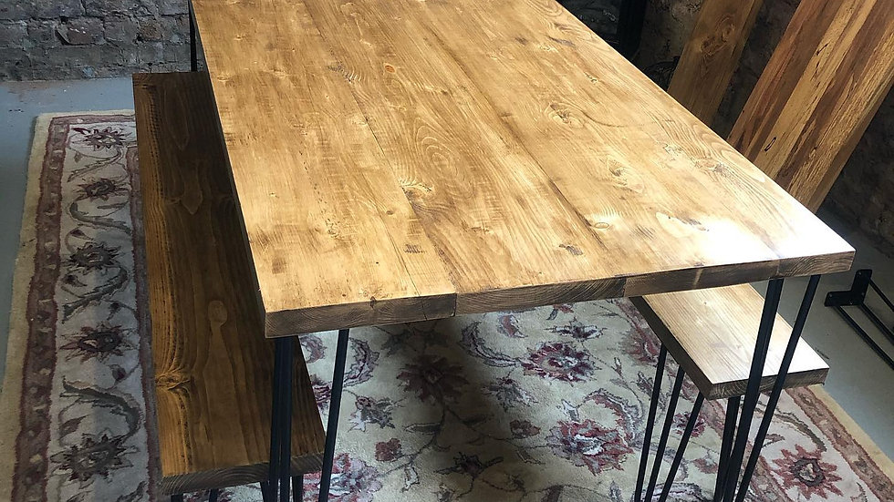 Dining Table & Bench Set with Hairpin Legs