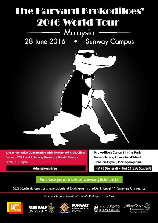 The Harvard Krokodiloes 2016 World Tour poster