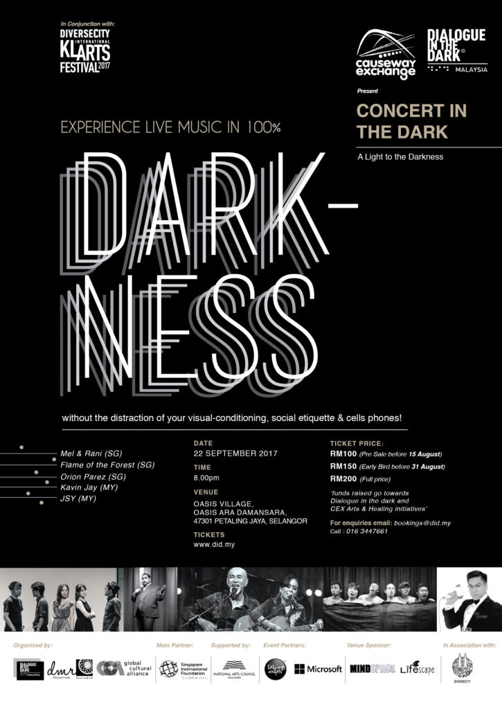 Experience Live Music in 100% darkness without the distraction of your visual-conditioning, social etiquette and cell phones!