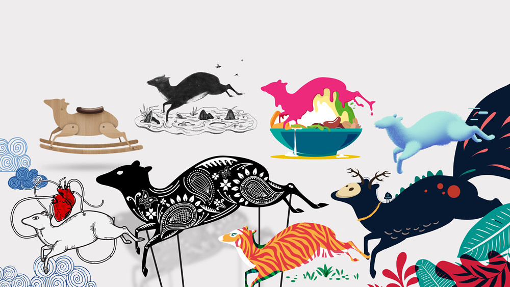 Artistic drawing of many different mousedeers (kancil), from wooden toy-like to stripes to batik motives.