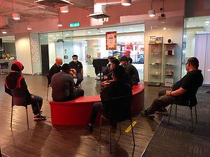 A team training meeting