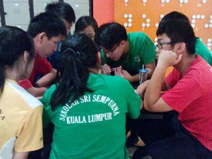 Students from Sri Sempurna focused on their task during the workshop