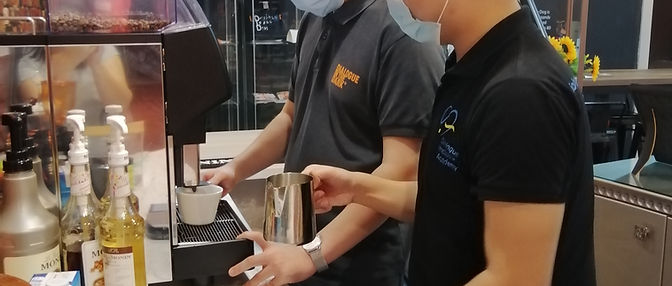 Visually impaired coffee barista trainees