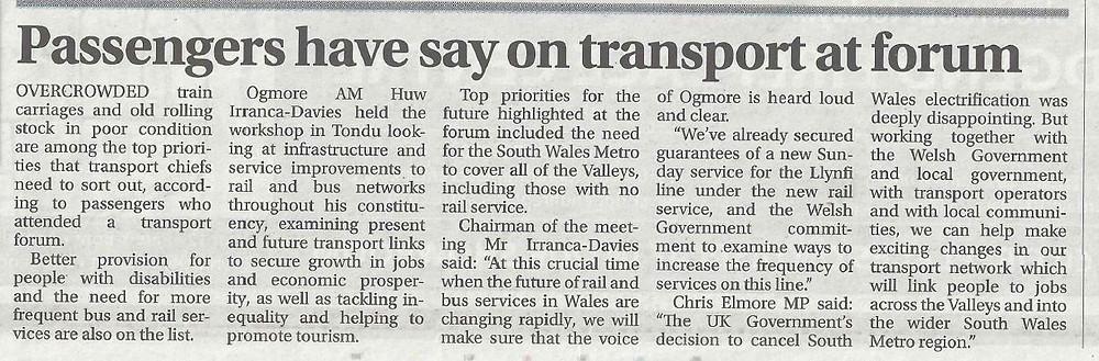 Gazette article 23.8.17 Transport Forum