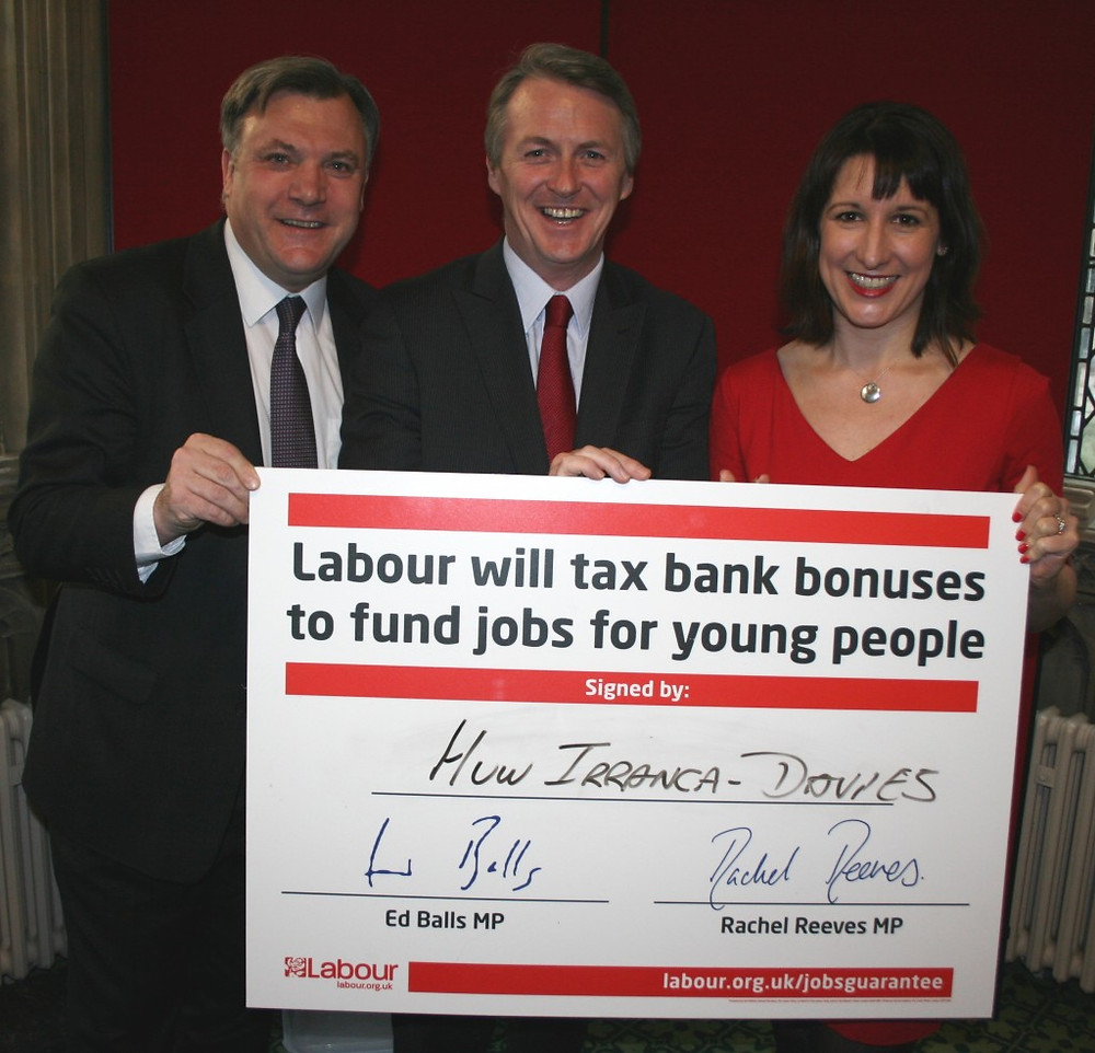 Ed Balls, Huw I-R and Rachel Reeves