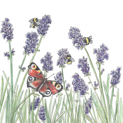 Bees, Butterflies & Lavender Card 1