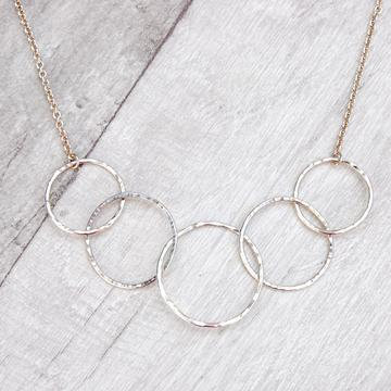Five Hammered Circle Necklace