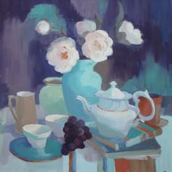 Blue Vase With Peonies