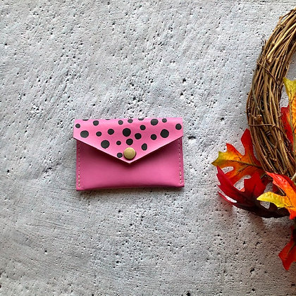 Recycled Leather Coin Purse - Pink