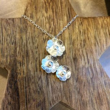 Silver Flowers Drop Necklace