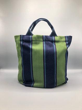Green & Navy Stripe Totebag