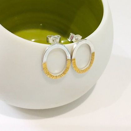Oval earrings - silver with hammered 24ct gold foil