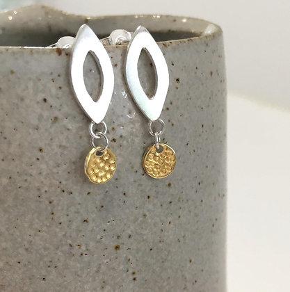 Silver Teardrop Earrings with Gold Detail