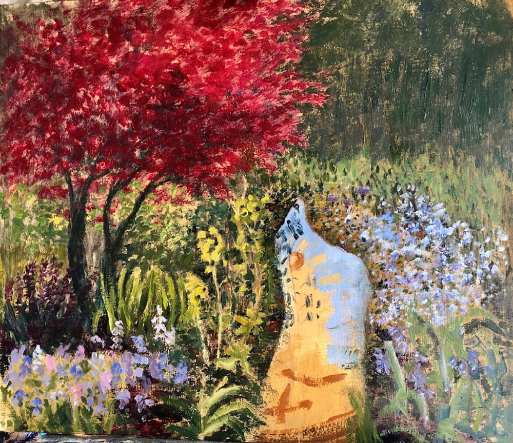 Painting of garden with red tree and purple shrubs
