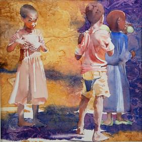 Catherine Staveley RBSA, Three Children, Two Balloons