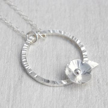Silver Flower and Leaf on Circle Necklace