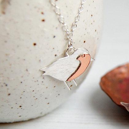 Silver and Copper Robin Necklace