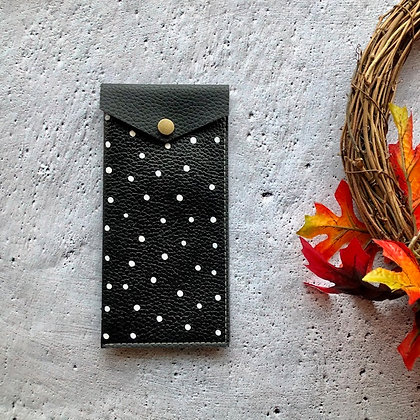 Recycled Leather Glasses Case - Black Polka