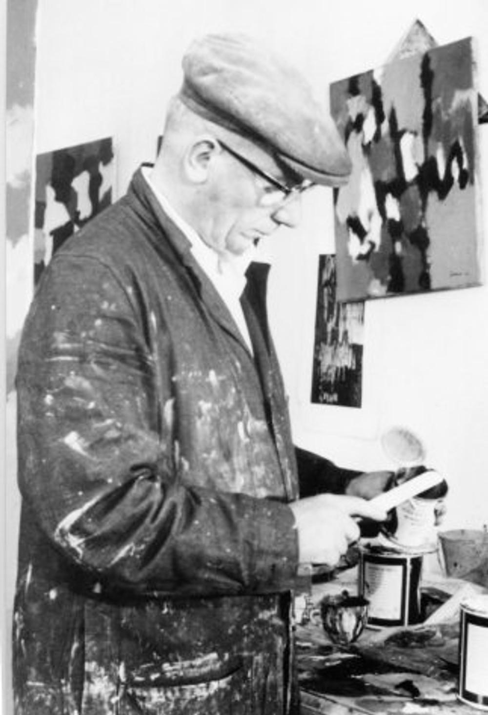 William Gear in his studio, Towner Art Galley, Eastbourne, 1962