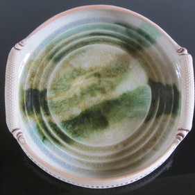 Large Green and White Platter - SOLD