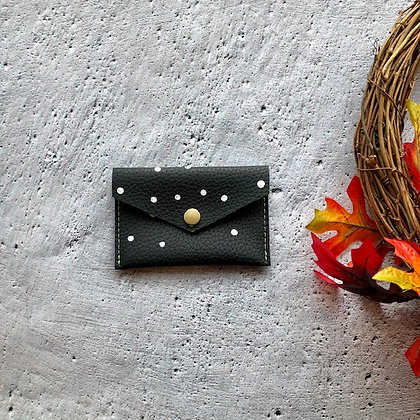 Recycled Leather Coin Purse - Black Polka