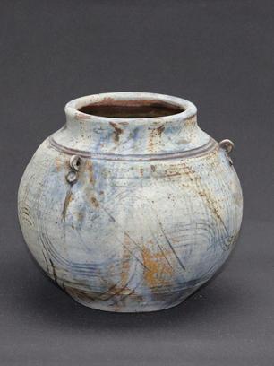 Round Stoneware Pot With Lugs Matt Glaze - SOLD