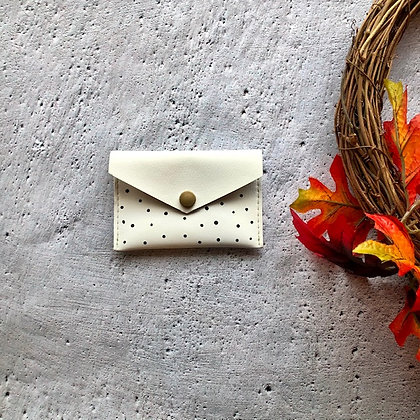 Recycled Leather Coin Purse - White Polka