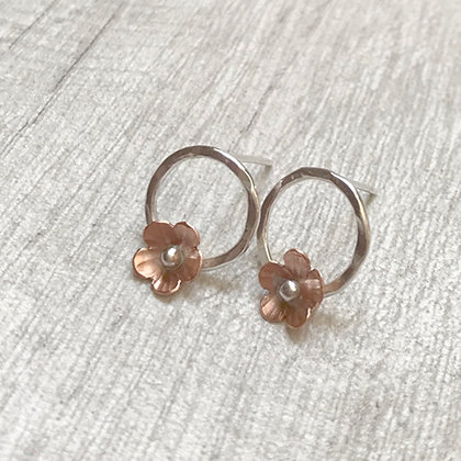 Copper Flower on Silver Circle Stud