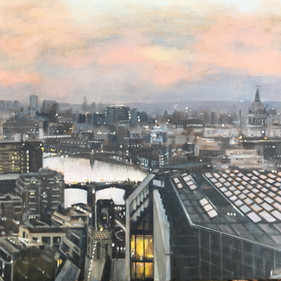 Alison Chambers RBSA, Winter Sky Over The Thames