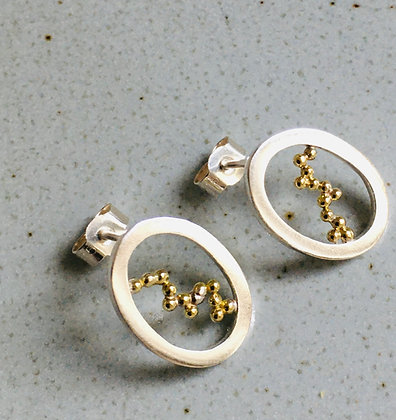 Oval Earrings with 18ct Gold Granulation