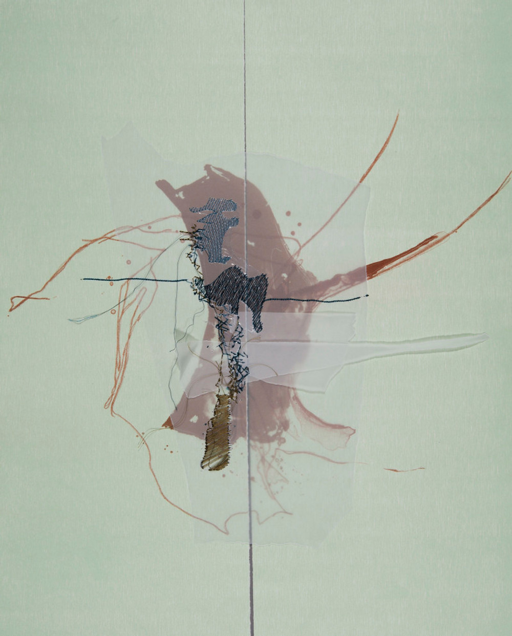 Niamh Fahy, 'Across Borders' Relief, Lithography and Digital Embroidery, £690