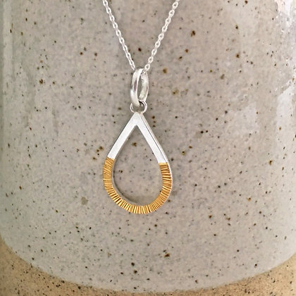 Silver Teardrop Necklace with 24ct Gold Detail