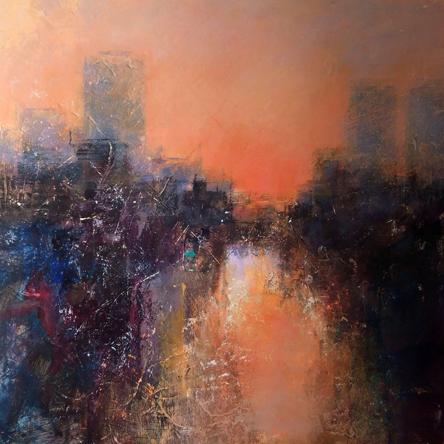 Ann Dangerfield, City at Sunset, SOLD
