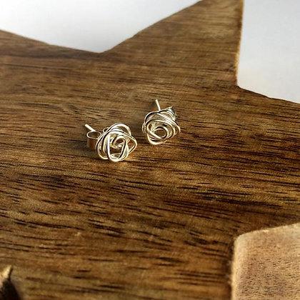 Silver Knot Wire Stud Earrings