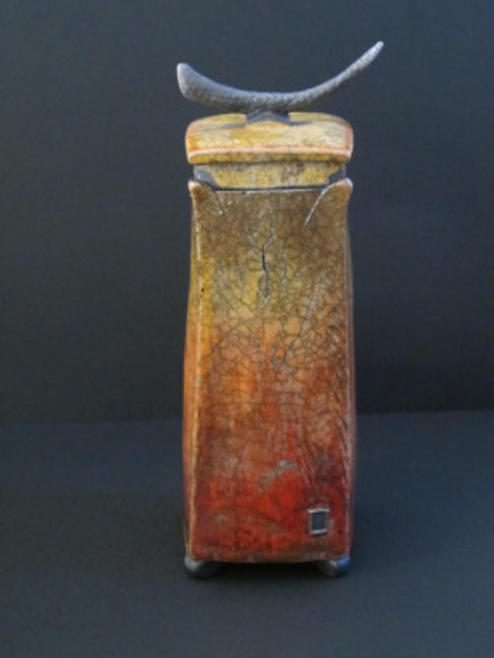 George F Jackson, 'Raku Lidded Vase'