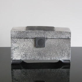Lidded Box, Grey/White, SOLD